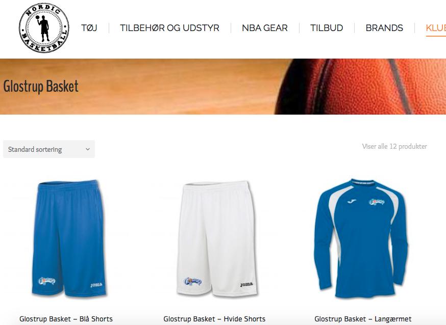 Glostrup Basketball's Klubside med træningstøj - Nordic Basketball